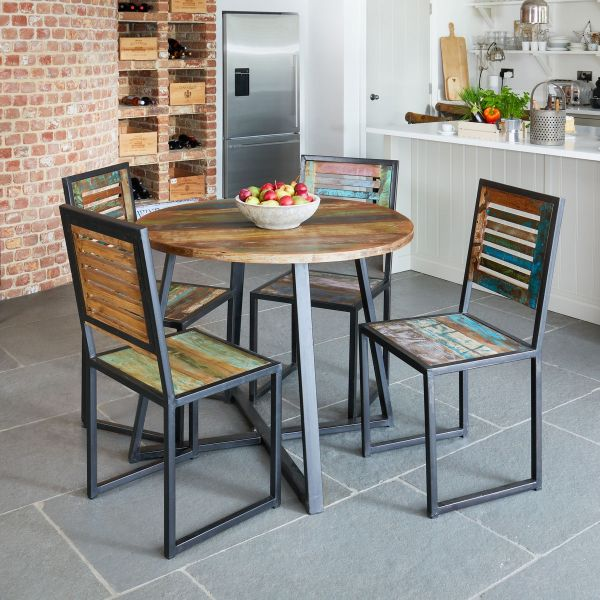 Urban Chic Round Dining Table with Four Chairs