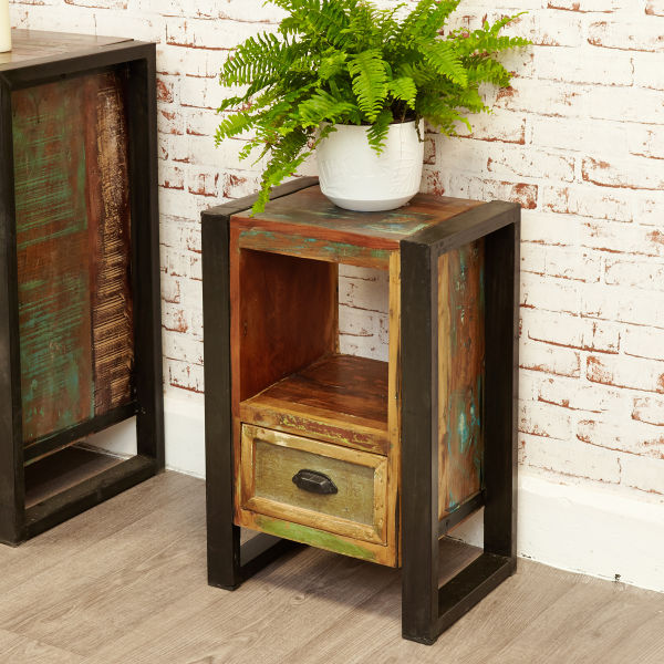 Urban Chic 1 Door 1 Drawer Lamp Table Wooden Furniture Store