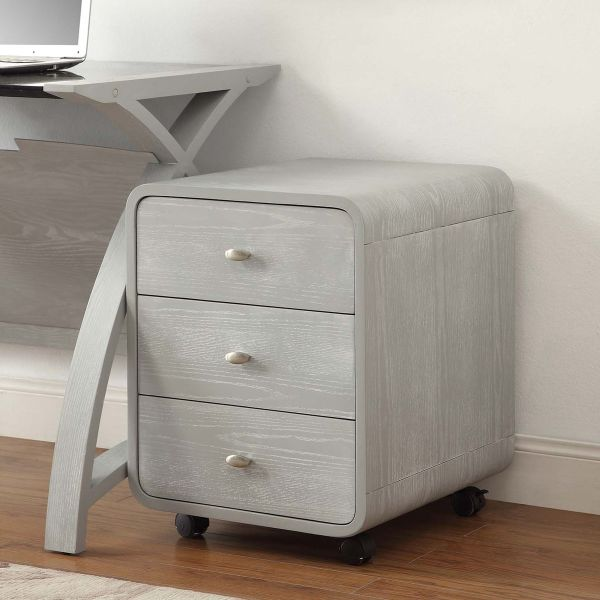 Curve Home Office Grey Ash Three Drawer Pedestal
