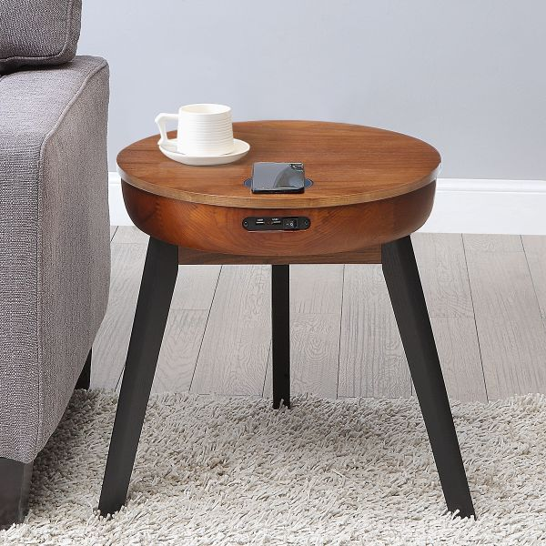 San Francisco Round Walnut Lamp Table With QI Wireless Charger, USB Ports and 2.1 Bluetooth Speakers