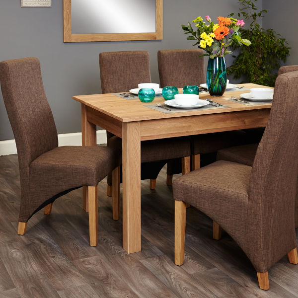 Mobel Oak 4-6 seat table and 6 hazelnut chairs