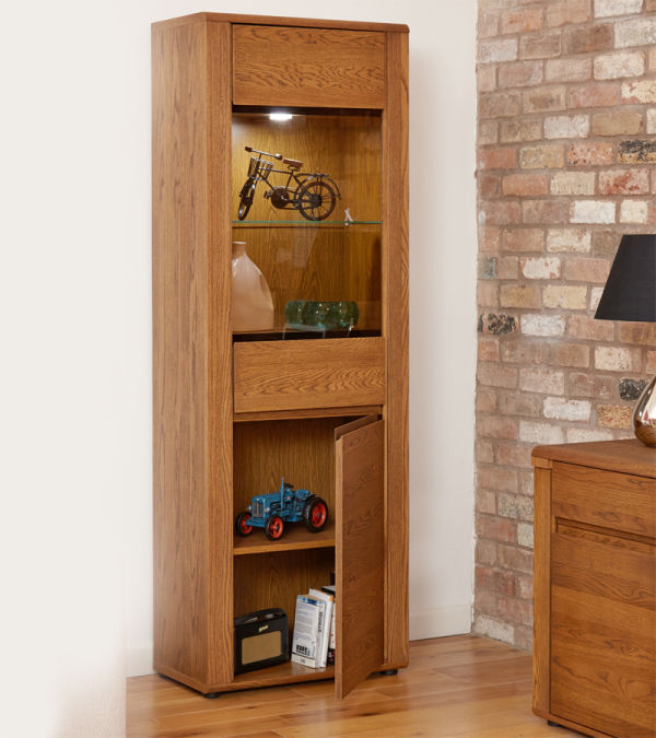 Olten Oak Tall Display Cabinet