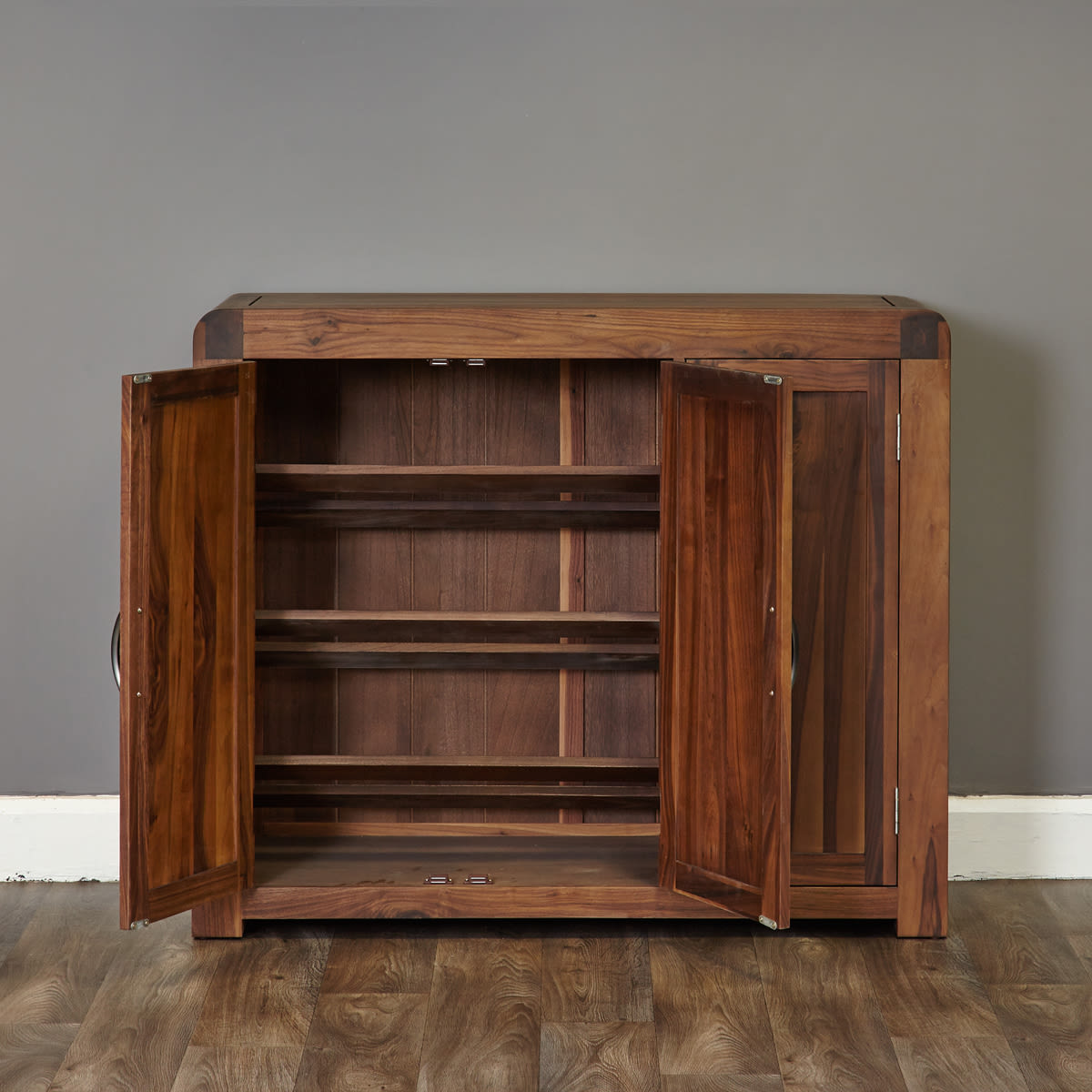 Shiro Walnut Extra Large Shoe Cupboard Was £720.00 Now £