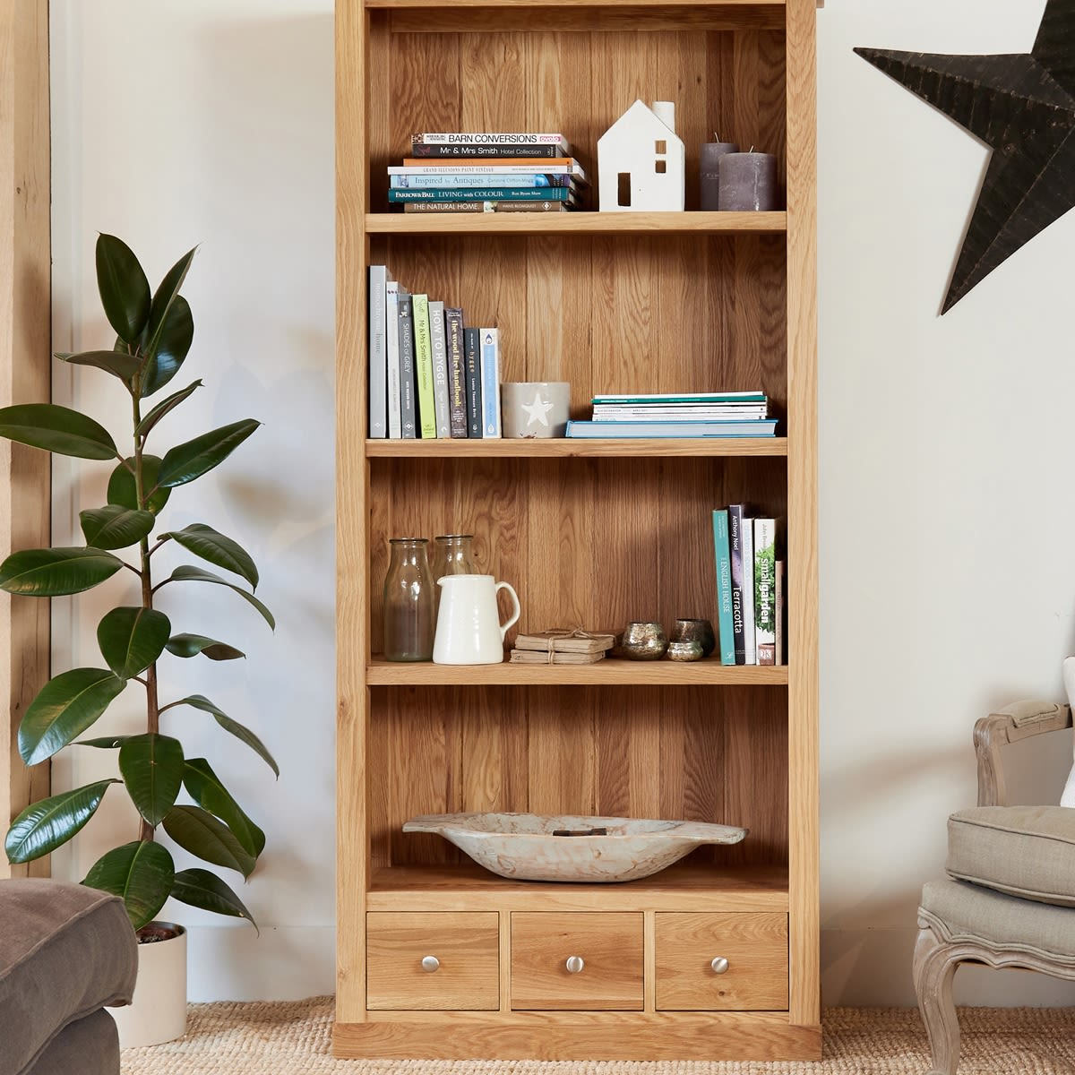 Mobel Oak Large Three Drawer Bookcase Was 163 590 00 Now 163 499