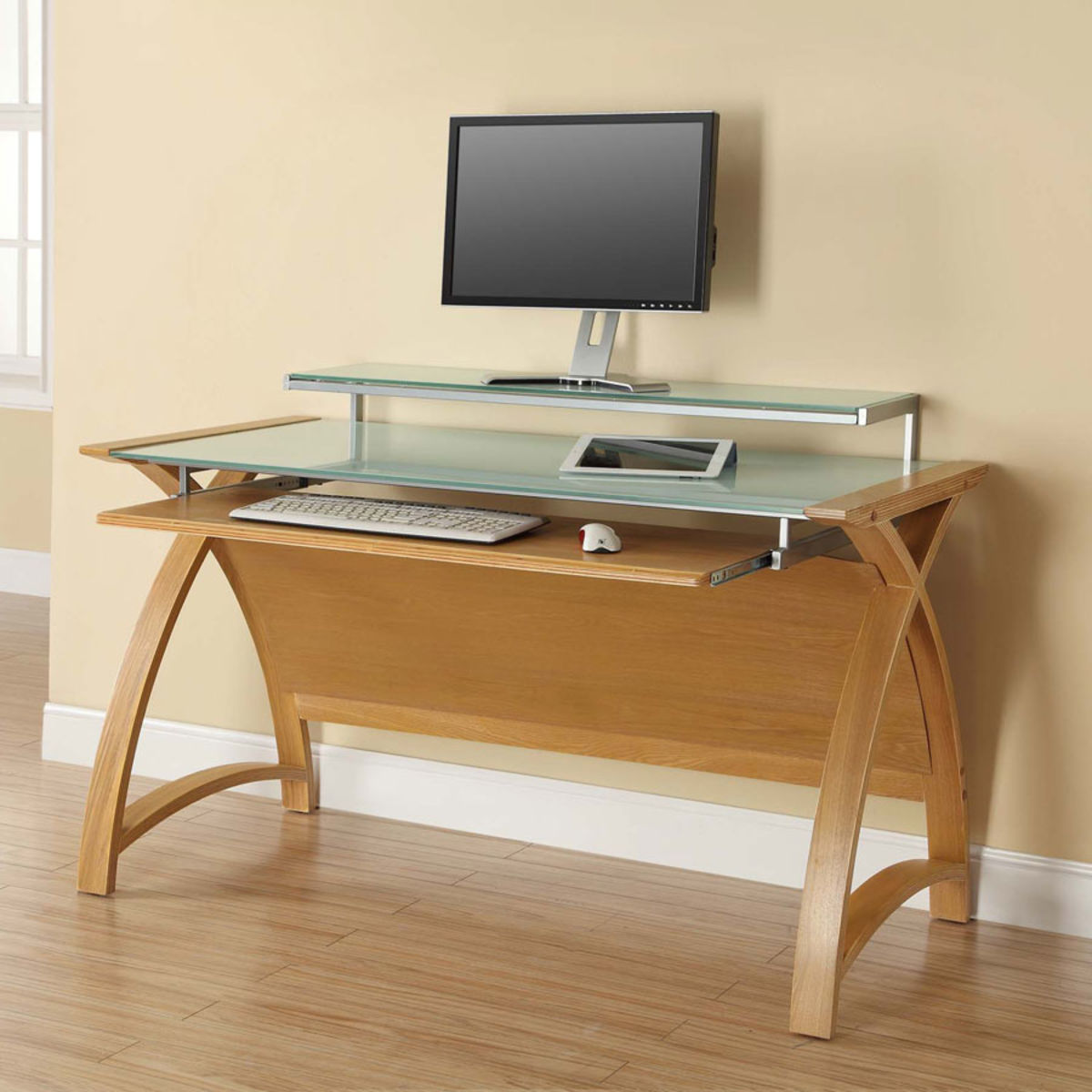 Home Office Furniture At Wooden Furniture Store: Curve Home Office Large Oak Desk (130cm) Was £395.00 Now £