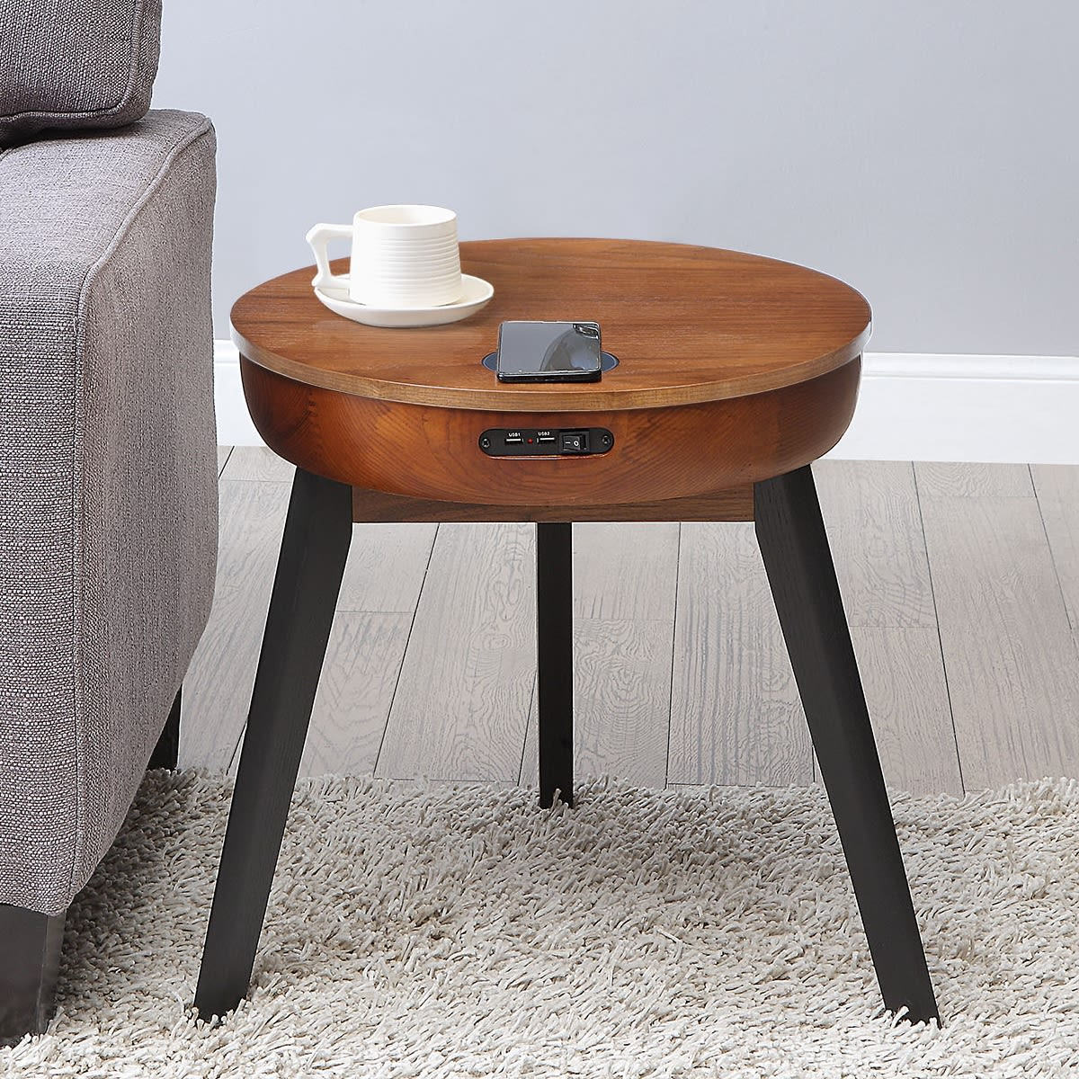 San Francisco Round Walnut Lamp Table With Qi Wireless