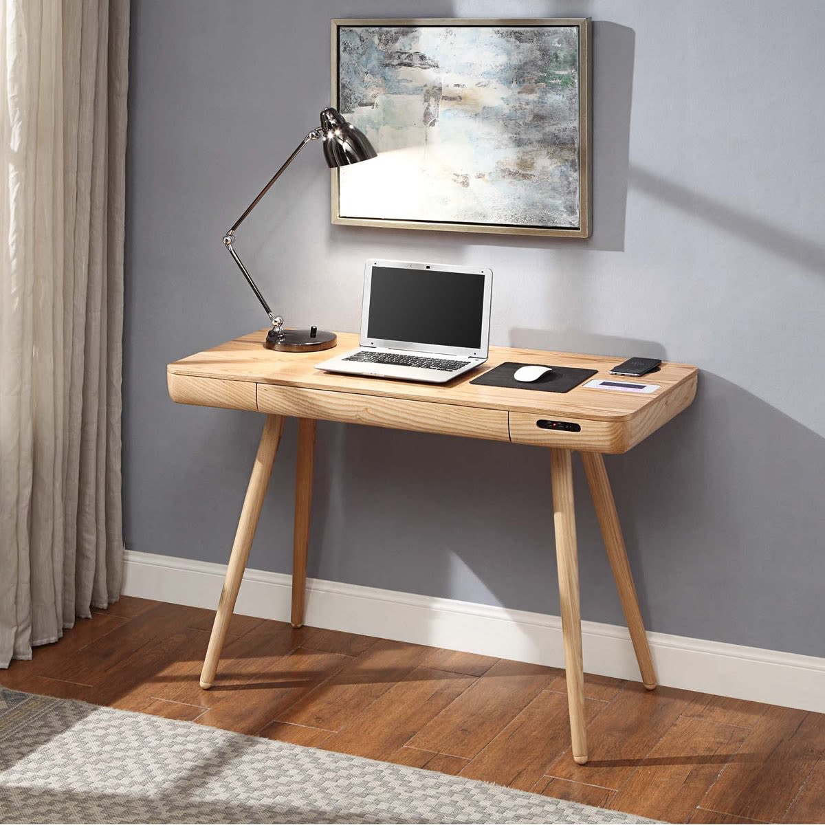San francisco smart desk with qi wireless charger usb - Creating a small home office ...
