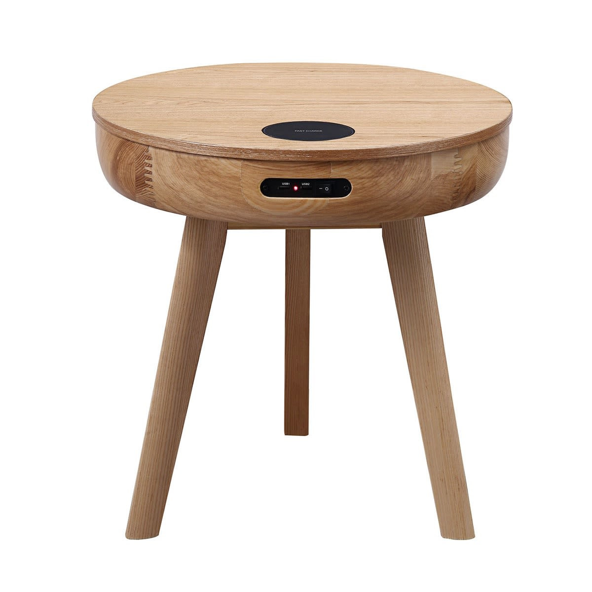 San Francisco Round Lamp Table With Qi Wireless Charger