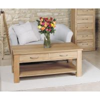 Mobel Oak Four Drawer Coffee Table Buy Online At Wooden