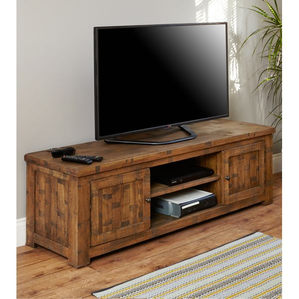 Rough Sawn Oak Widescreen Television Cabinet