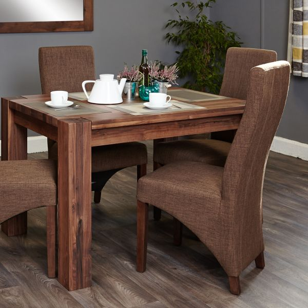 Shiro Walnut 4 seat dining table and 4 hazelnut chairs