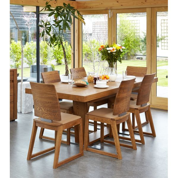 Olten Dark Oak Six/Eight seat extending dining table with six cappuccino chairs