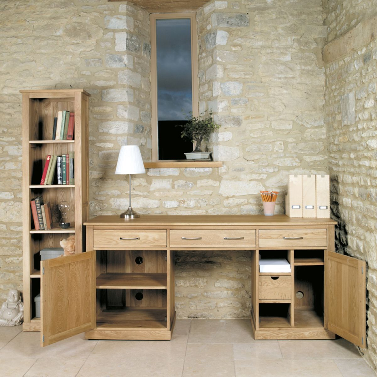 mobel oak hidden home office mobel oak hidden office twin pedestal desk buy online at wooden