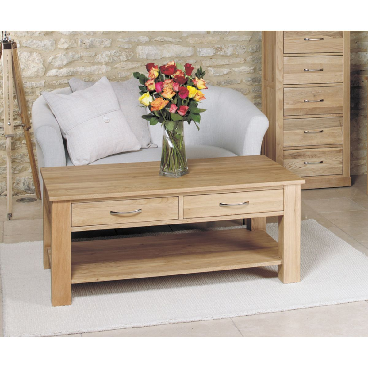 Indore Coffee Table With 6 Drawers: Mobel Oak Four Drawer Coffee Table