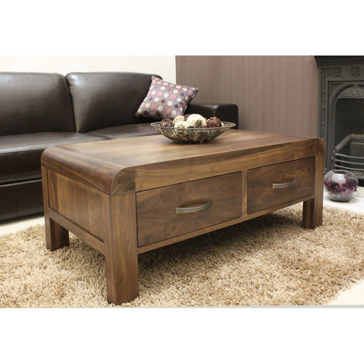 Buy Shiro Walnut Coffee Table With Drawers Online At
