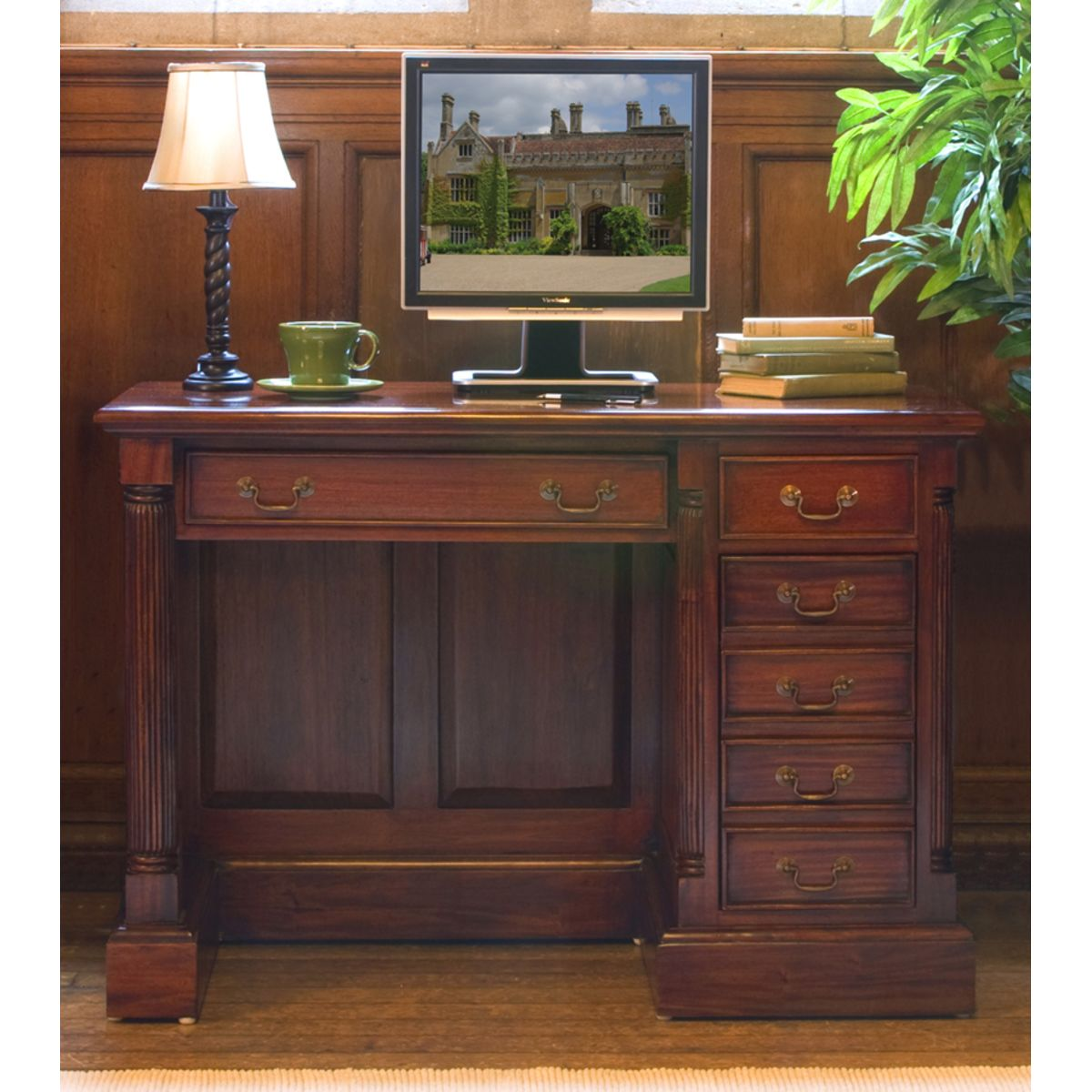 La Roque Single Pedestal Mahogany Computer Desk Wooden Furniture Store