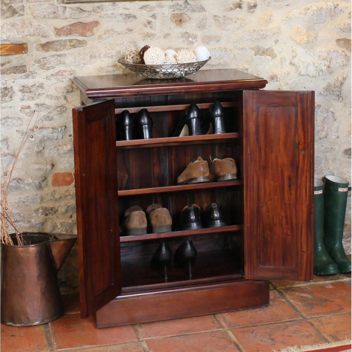 Mahogany Shoe Cupboard La Roque Wooden Furniture Store