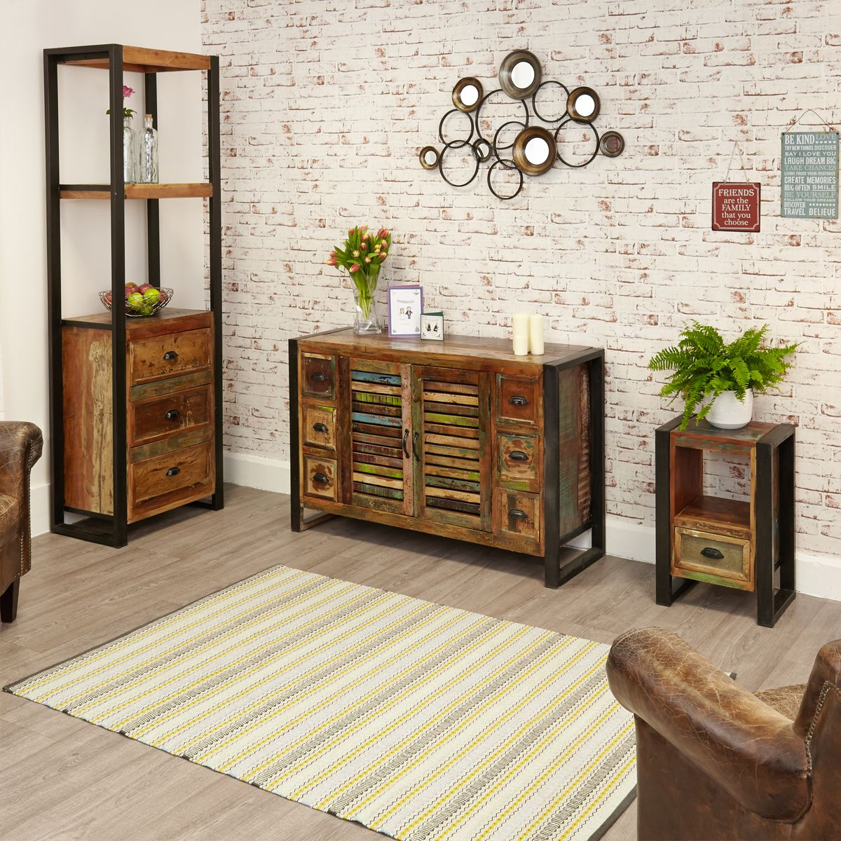 Urban Chic 6 Drawer Sideboard Wooden Furniture Store