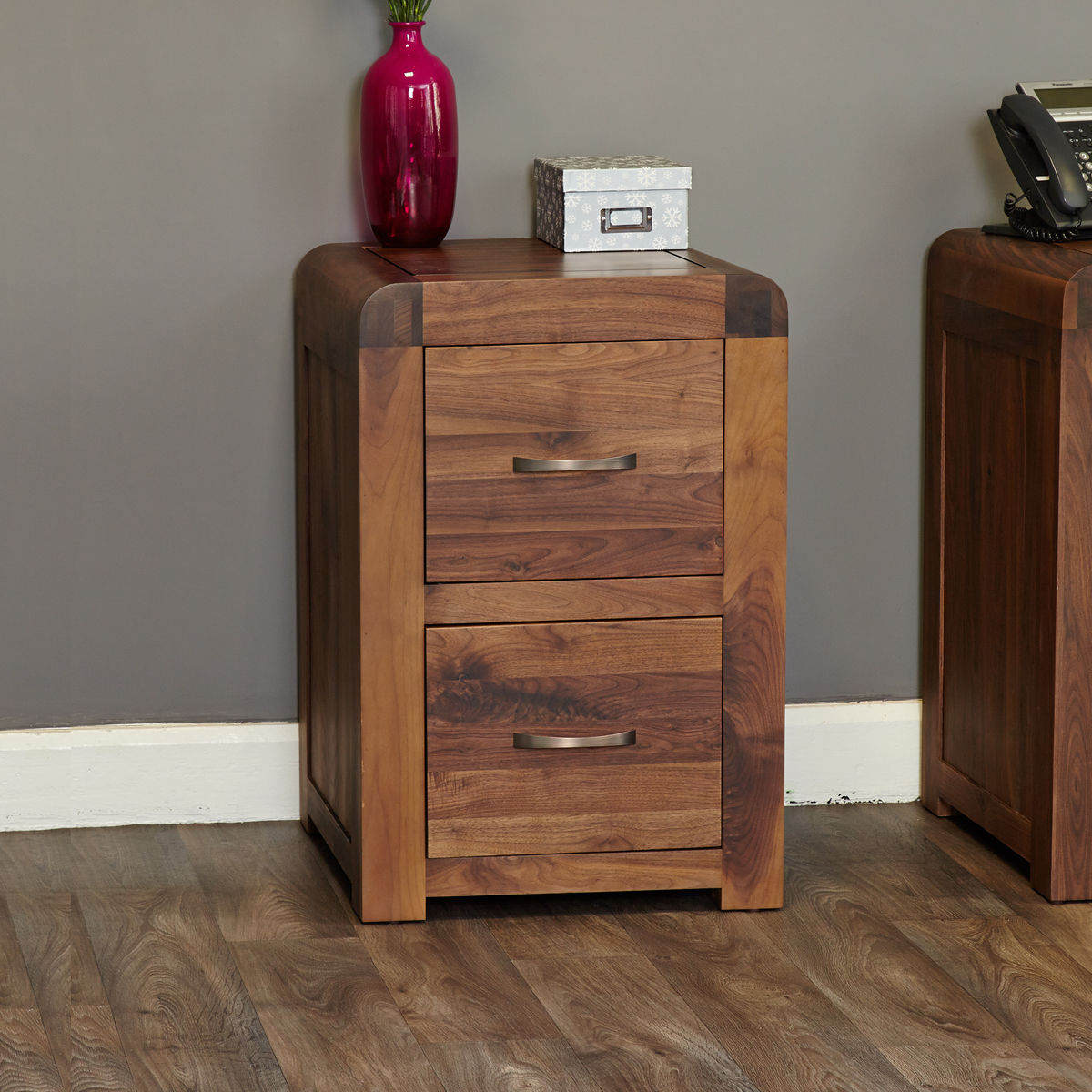 Shiro Walnut Two Drawer Filing Cabinet Wooden Furniture Store