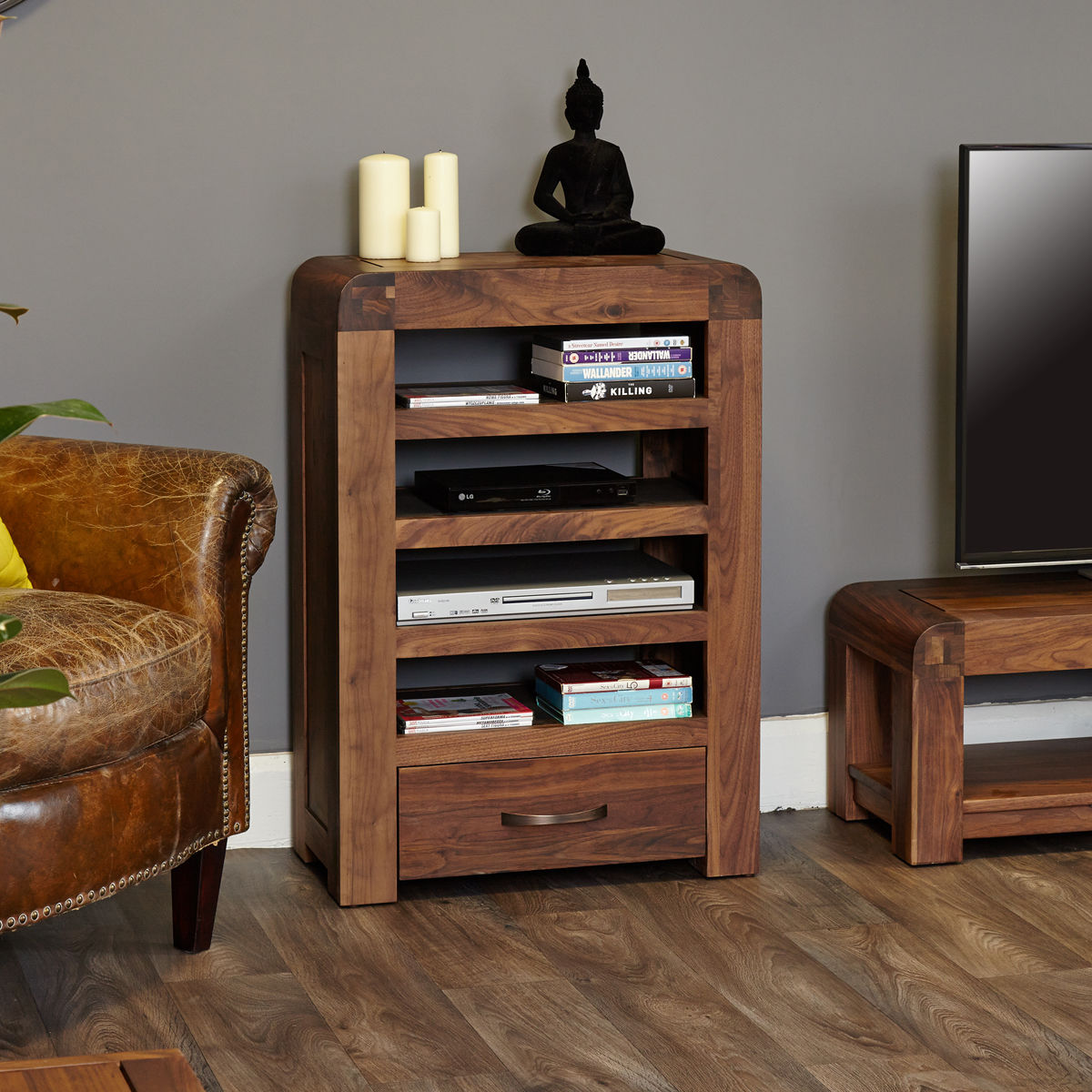 Shiro Walnut Entertainment Unit Wooden Furniture Store