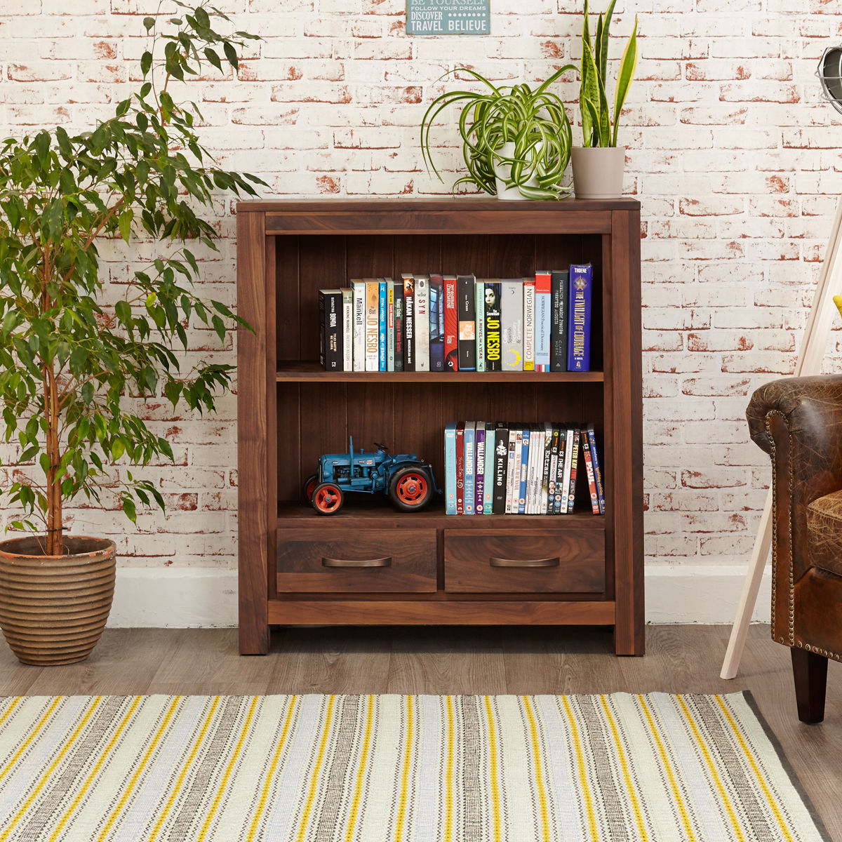 Mayan Walnut Low Bookcase Wooden Furniture Store