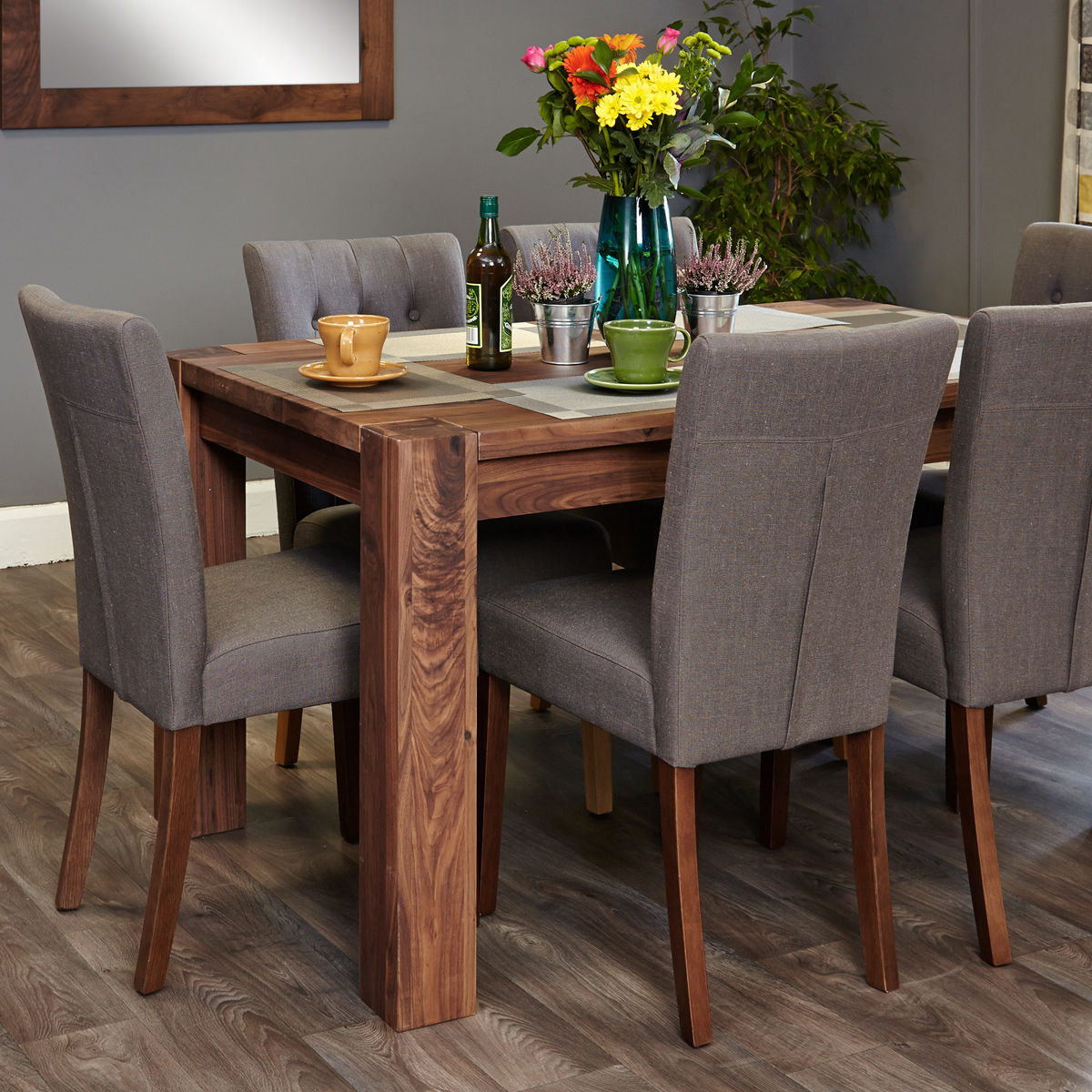 Shiro Walnut 6 Seat Table And 6 Grey Linen Chairs Was 163