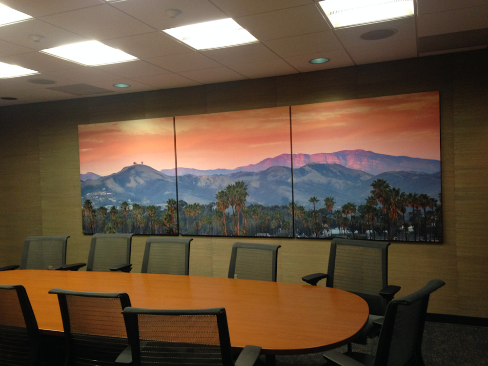 "Conference Room with 5'x15' Triptych Canvas of ""Two Trees Topa Topa"""