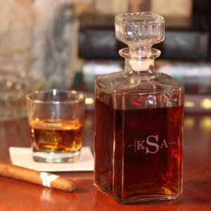 Personalized Glass Whiskey Decanter - Monogram with Arrows
