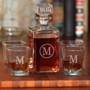 Personalized 5-Piece Whiskey Decanter Set with Single Initial in Circle