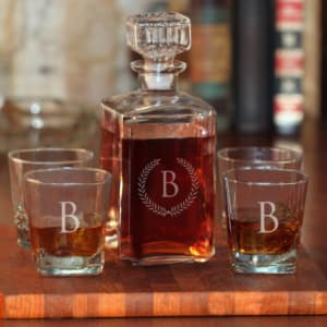 Personalized 5-Piece Whiskey Decanter Set with Wheat Design