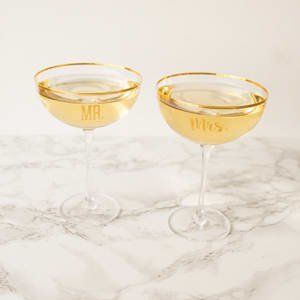 Mr. & Mrs. Gold Rim Coupe Toasting Flutes (Set of 2)