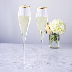 Personalized Gold Rim 7 oz. Toasting Flutes