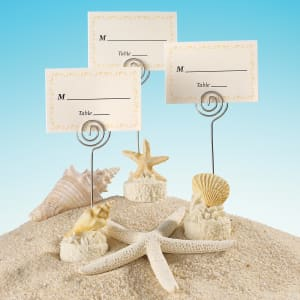 Seashell Motif Place Card Holder with Matching Place Card, Set of 24
