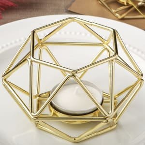 Gold Hexagonal Tea Light Holder