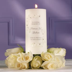 Crystals and Lace Wedding Memorial Candle