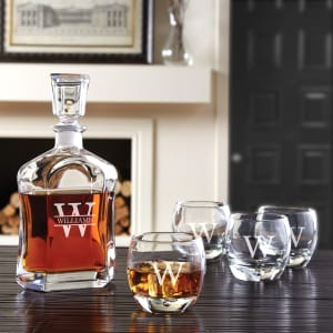 Personalized Decanter and Over- the-Rocks Glasses, 5-Piece Set with Free Name-Initial Monogram
