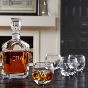Personalized Decanter and Over- the-Rocks Glasses, 5-Piece Set