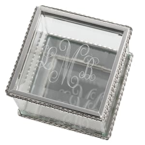 Engraved Square Glass Keepsake Box