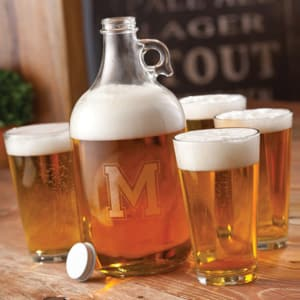 Personalized Beer Growler & Pint Glasses Set
