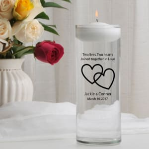 Personalized Two Hearts Floating Unity Candle
