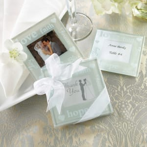 Good Wishes Photo Coaster Wedding Favor - Set of 2