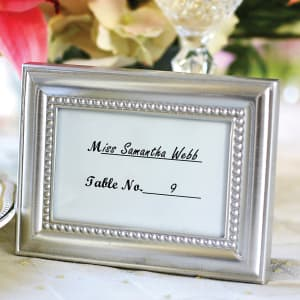 Silver Beaded Frame Place Card Holder & Favor