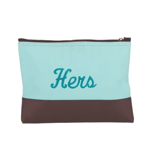 Cotton Canvas Zip Pouch in Clearwater Blue