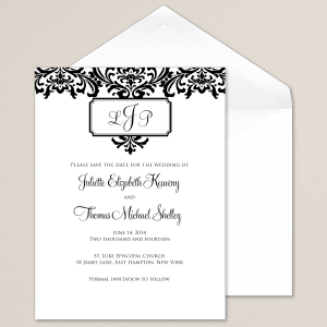 Monogrammed Damask Save the Date Card