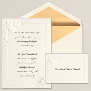 Hearts and Flowers Wedding Invitation
