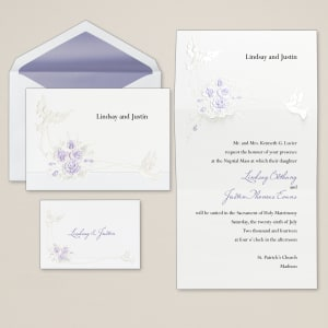 Doves with Roses Wedding Invitation