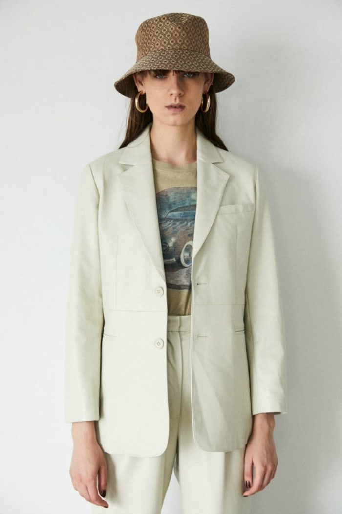 FAUX LEATHER TAILORED JACKET