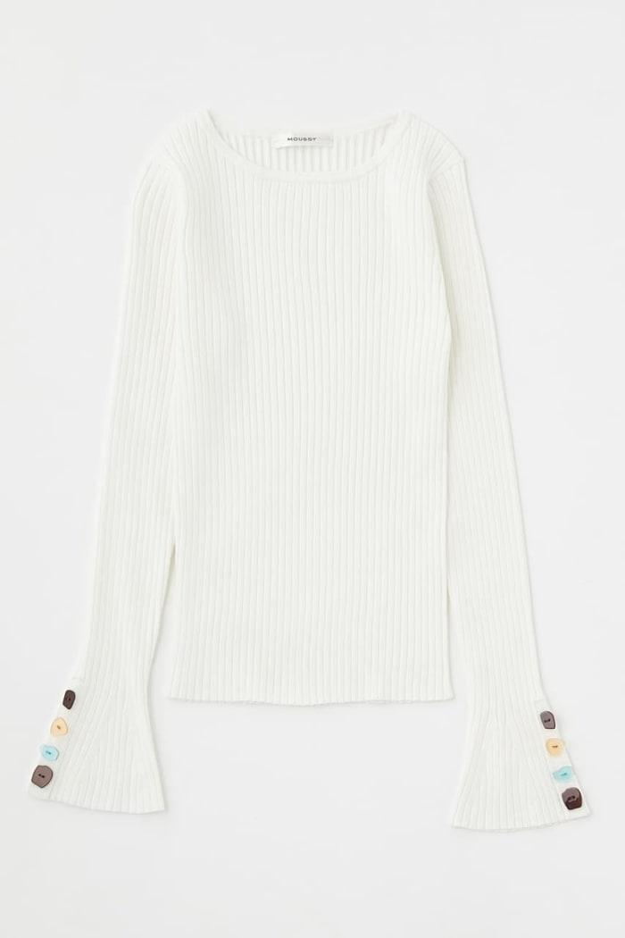 COLOR BUTTON RIB knit tops