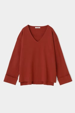 ROLL SLEEVE V-Neck KNIT TOP
