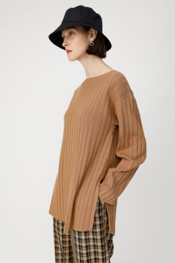 SLIT RIB KNIT TUNIC TOP